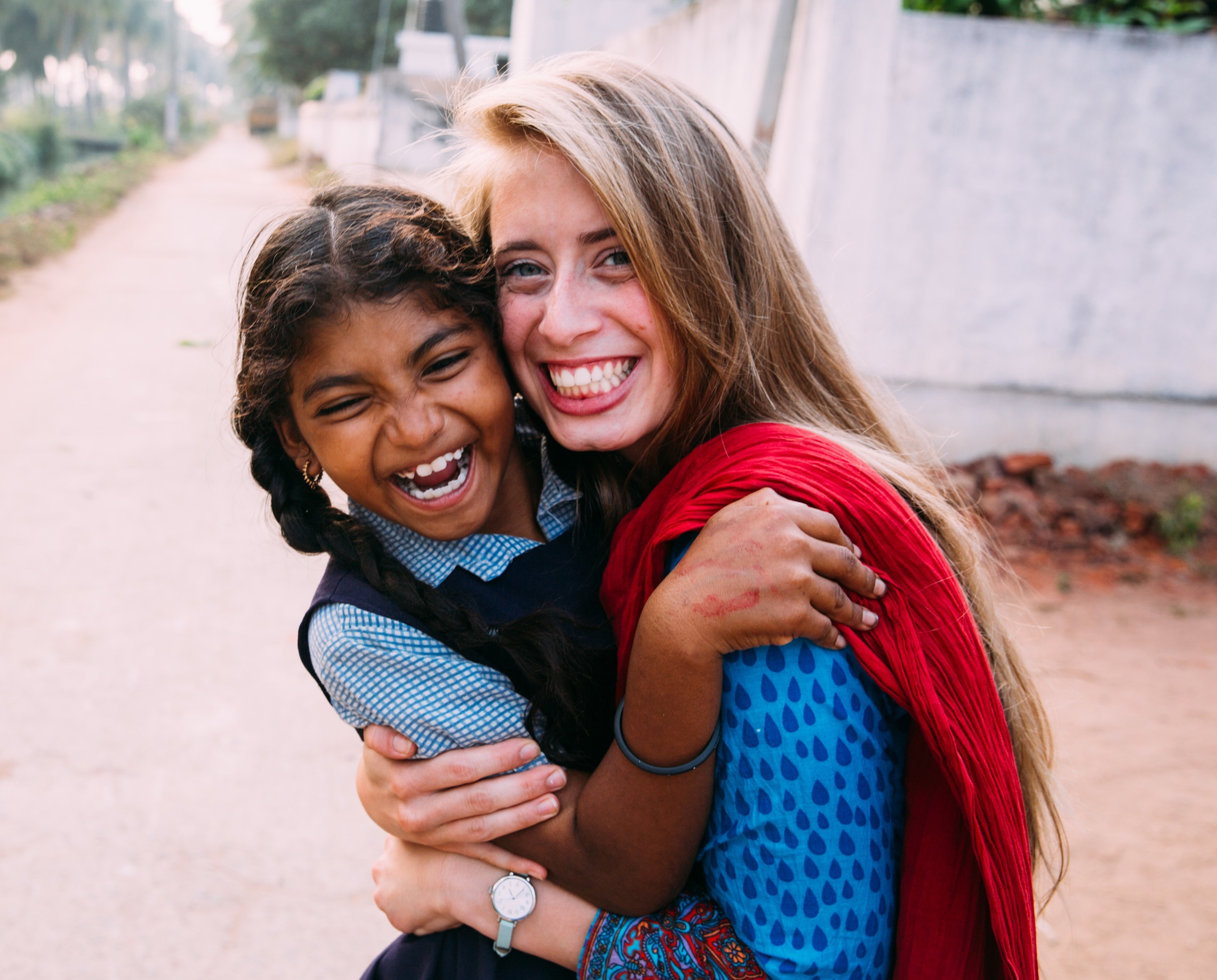 Rachel with Bala in India