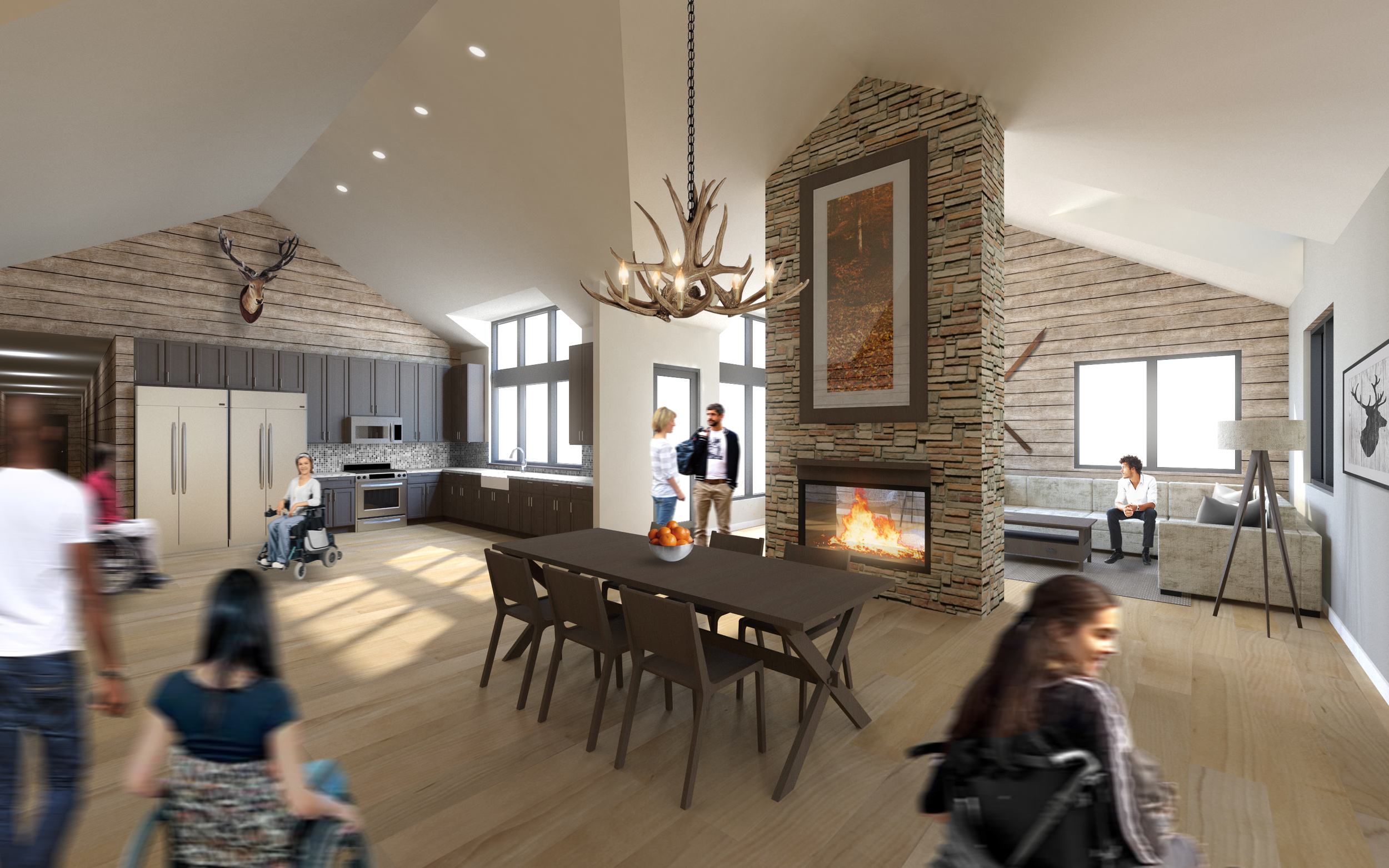 Dixie Lodge kitchen and living room areas.