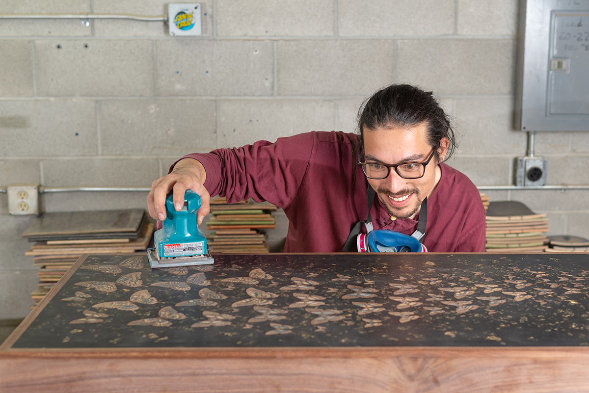 Found of UpCycled Skate Art, local artist Alex Wong makes lovely items from discarded skateboards.