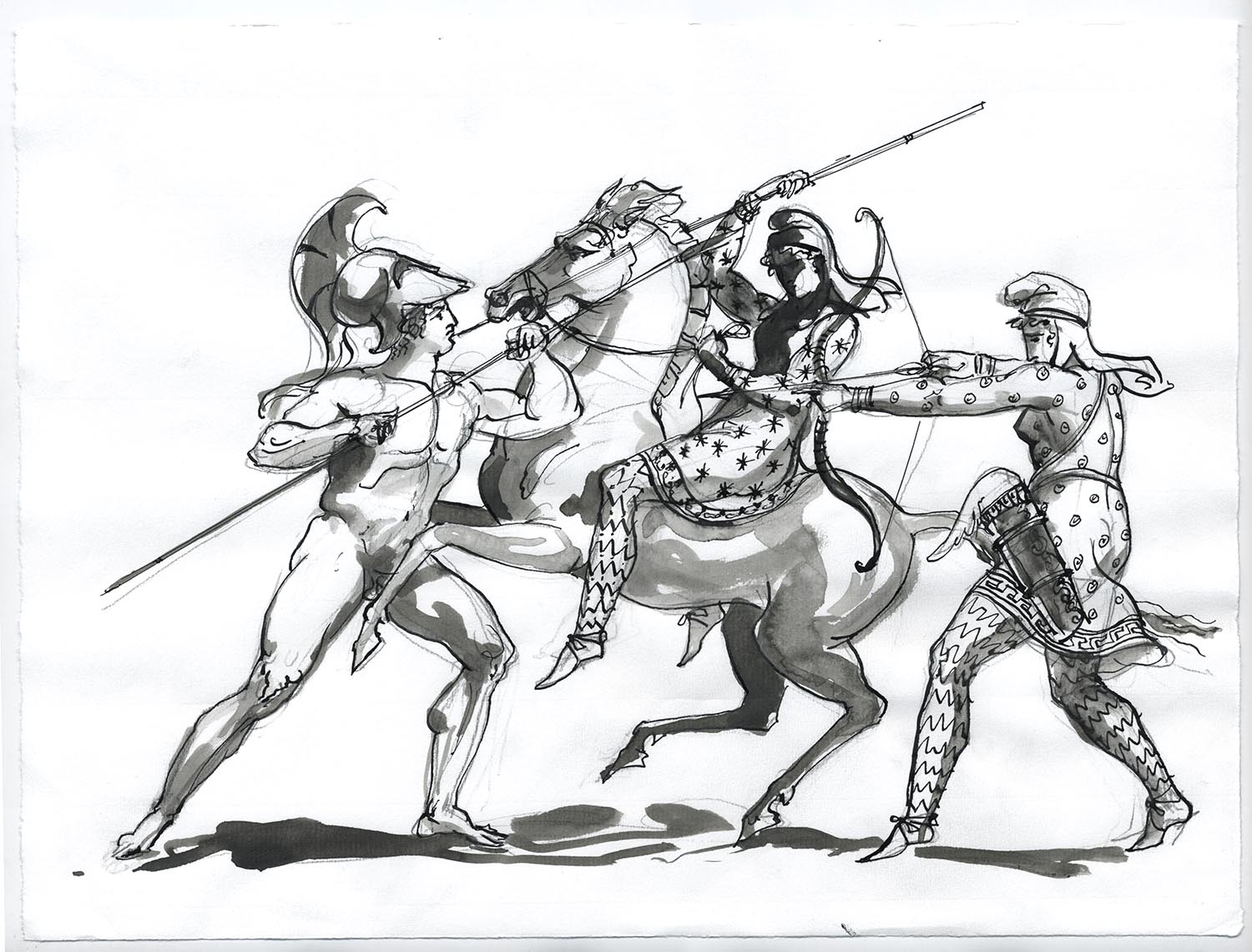 "Theseus, Hippolyta and Deinomache (after Henry Moses)  2016, Ink and wash on paper, 9 1/2"" x 12 3/4"" © Leonard Porter MMXVI"