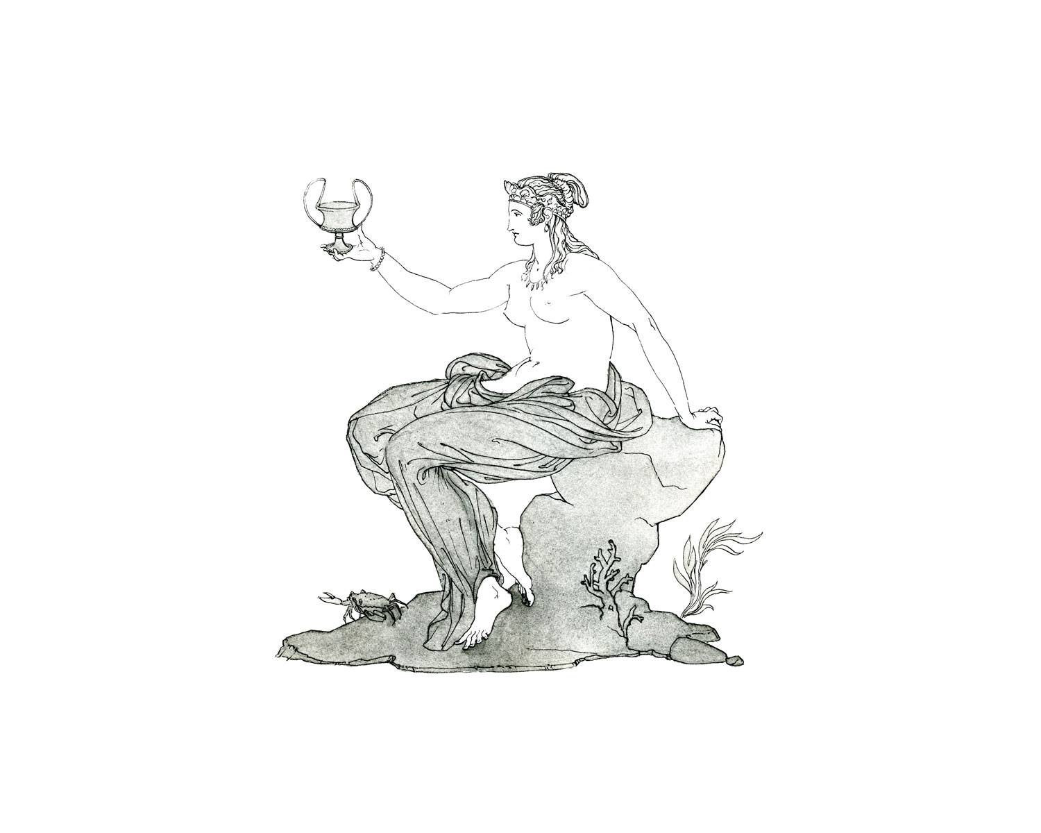"""Thetis  2016, Ink and wash on paper, 14 1/4"""" x 10 1/4"""" © Leonard Porter MMXVI"""