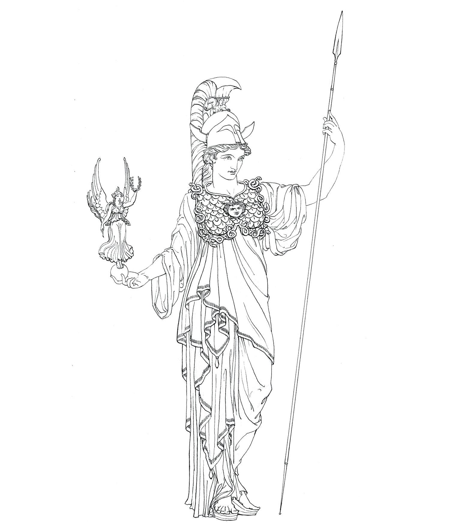 "Athena  2015, Ink on paper, 14 1/4"" x 10 1/4"" © Leonard Porter MMXV"