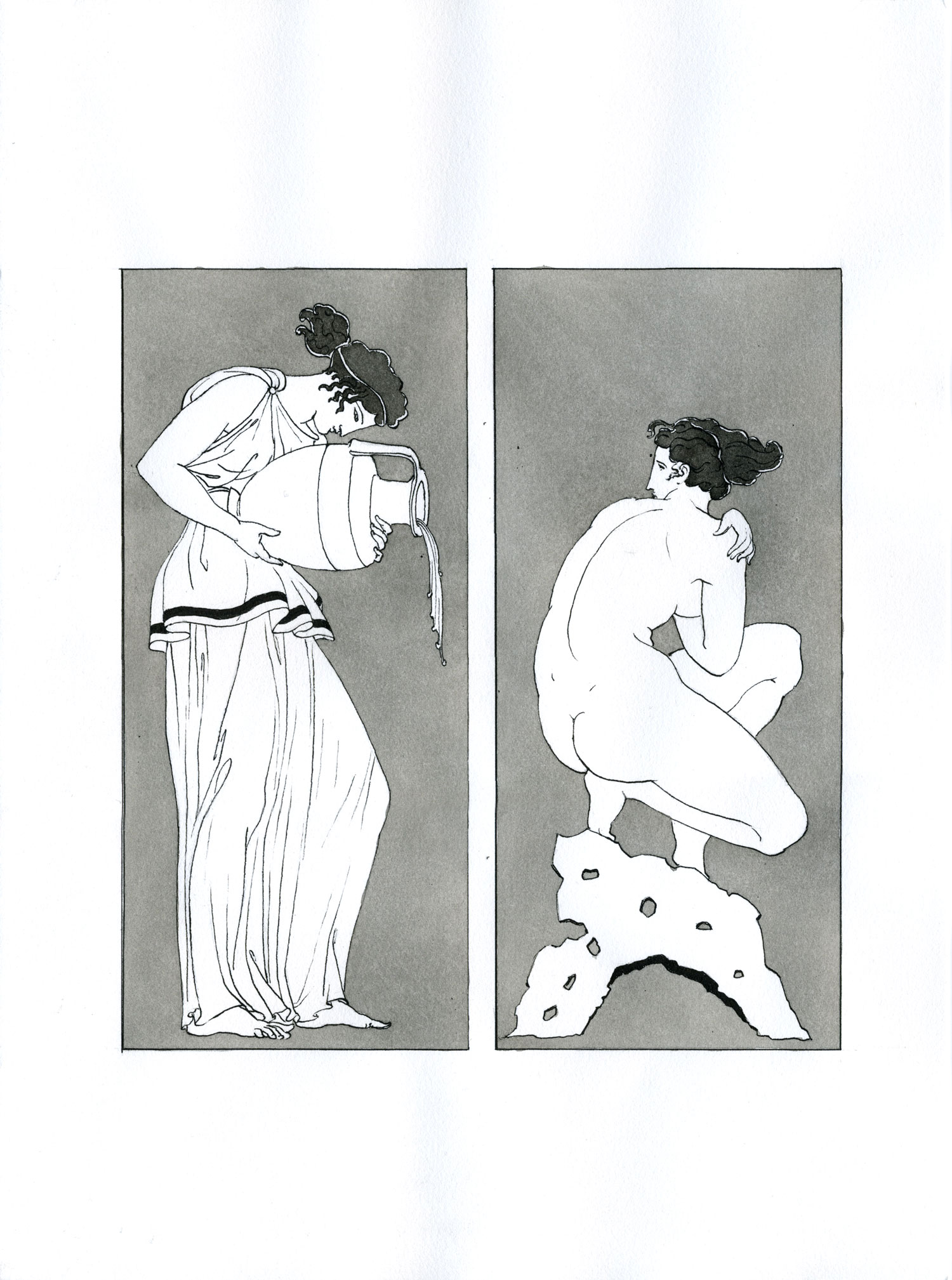 "Deepdene Bather  2015, Ink and wash on paper, 12"" x 9"" © Leonard Porter MMXV"