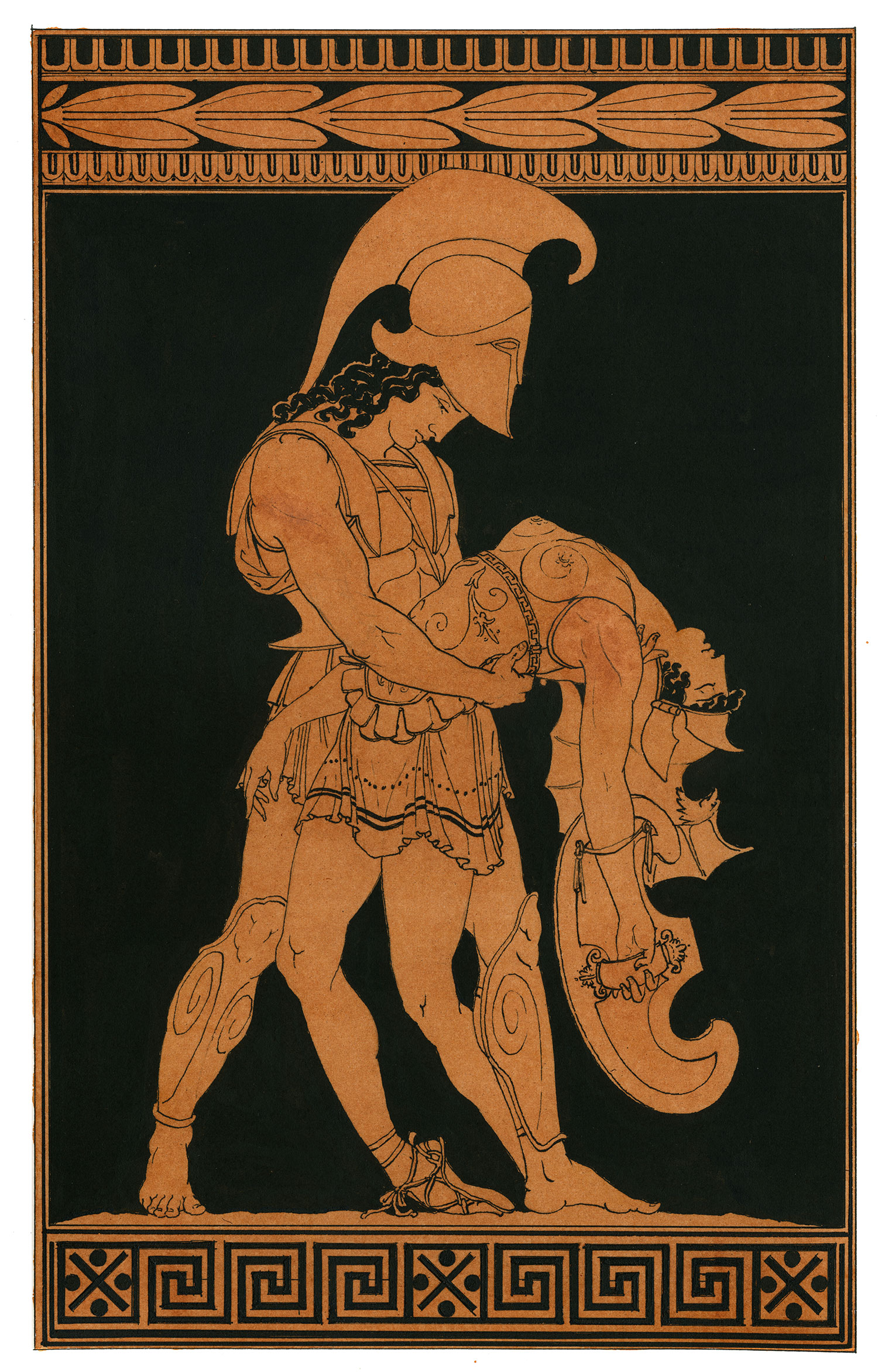 """Achilles and Pentheselia  2014, Ink and wash on paper, 14"""" x 10 1/4"""" © Leonard Porter MMXIV"""