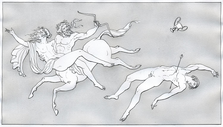 "Sagittarius  2016, Ink and wash on paper, 14 1/4"" x 10 1/4"" © Leonard Porter MMXVI"