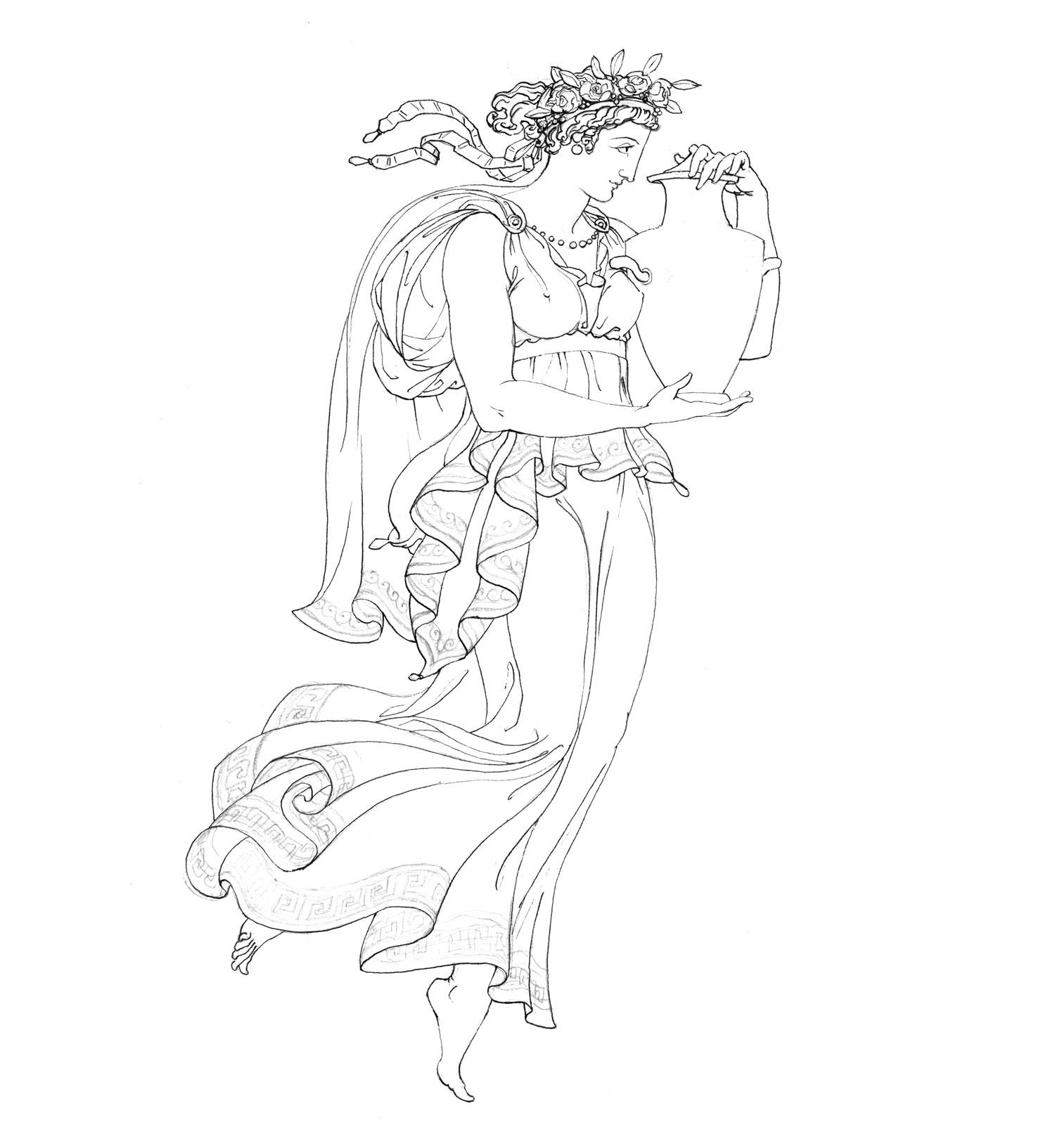 """Vasebearer  2015, Ink on paper, 14 1/4"""" x 10 1/4"""" © Leonard Porter MMXV"""