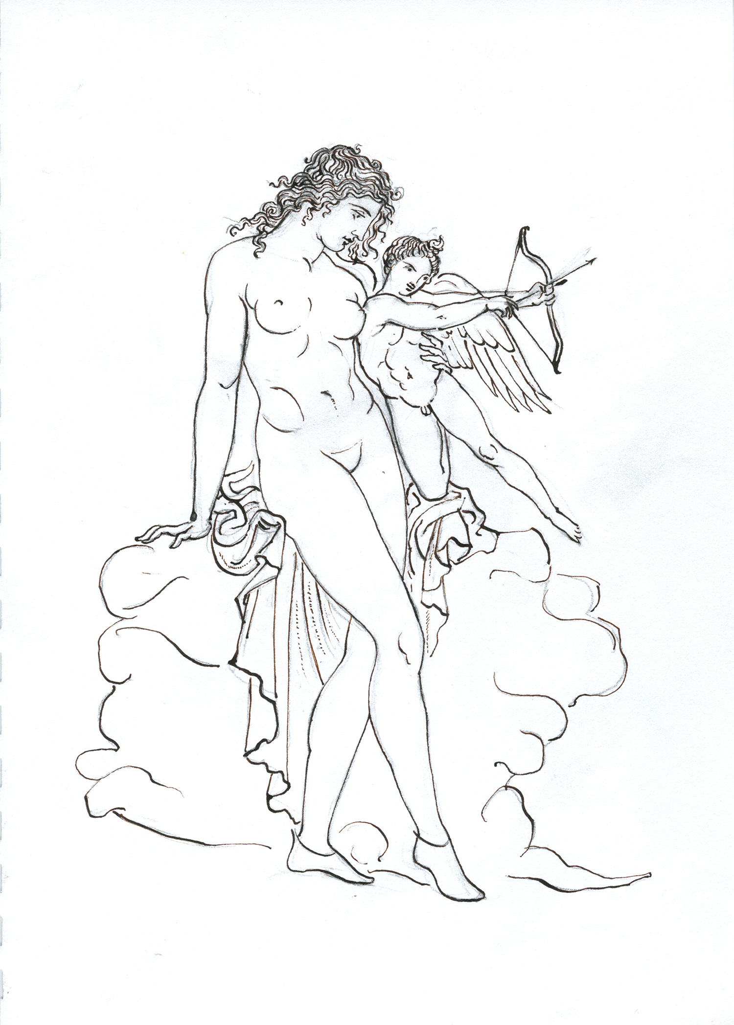 "Aphrodite and Eros (After an Etruscan Mirror)  2015, Ink on paper, 11"" x 8"" © Leonard Porter MMXV"