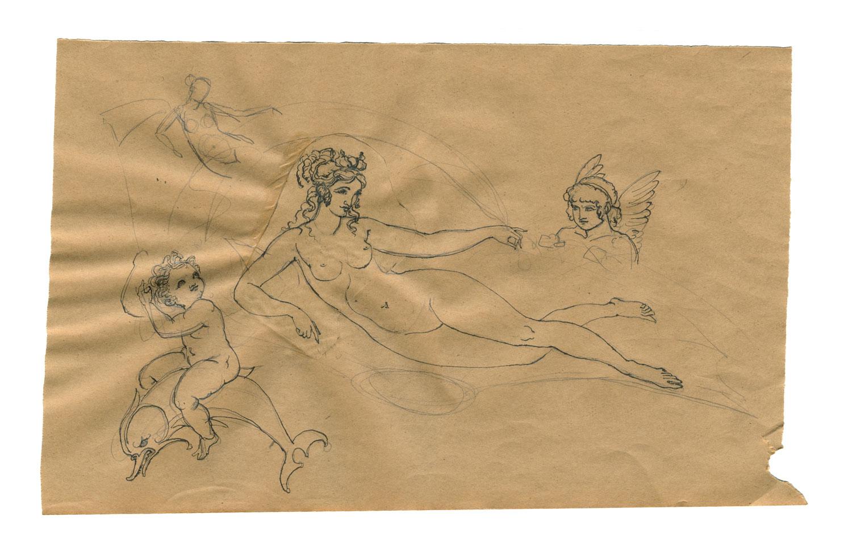 "Aphrodite (Venus Marina)  2015, Ink on brown paper, 9"" x 14"" © Leonard Porter MMXV"