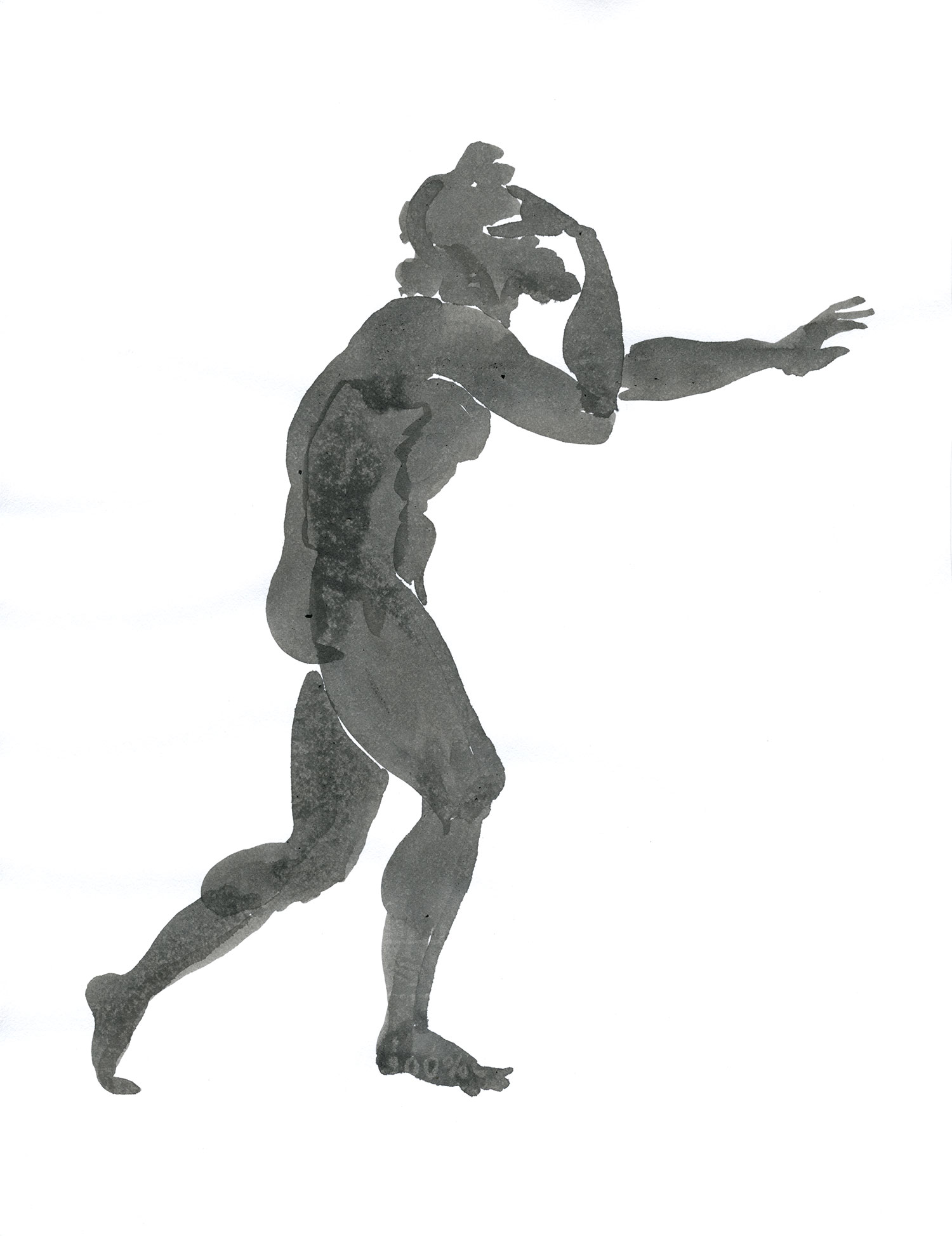 "Blind Polyphemos  2015, Ink on paper, 11"" x 8 1/2"" © Leonard Porter MMXV"