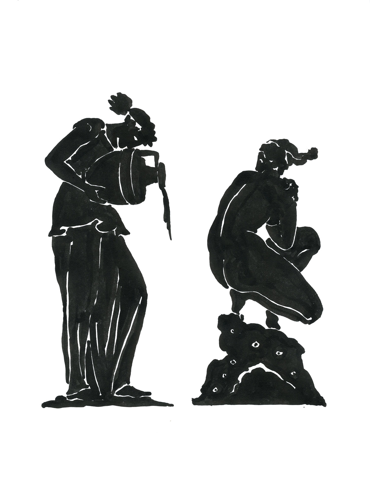 "Deepdene Bather (Black Figure)  2014, Ink on paper, 11"" x 8 1/2"" © Leonard Porter MMXIV"