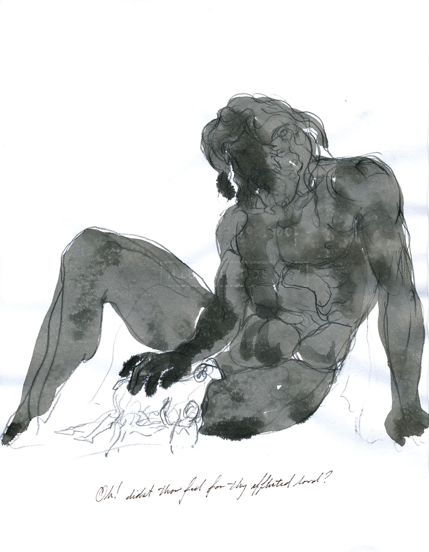 "Polyphemus (Odyssey Book IX)  2015, Ink on paper, 11"" x 8 1/2"" © Leonard Porter MMXV"