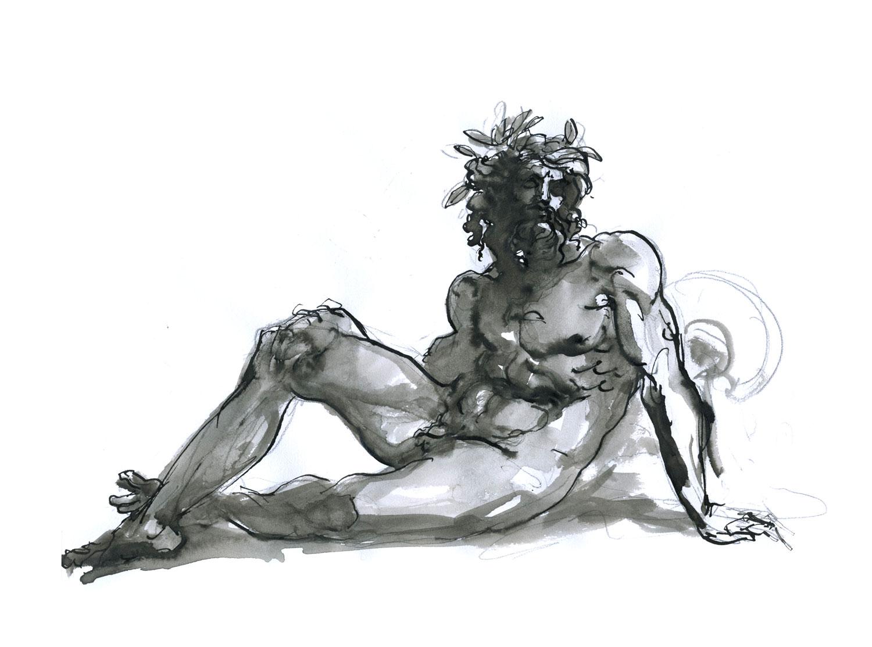 "A River God  2016, Ink on paper, 11"" x 8 1/2"" © Leonard Porter MMXVI"