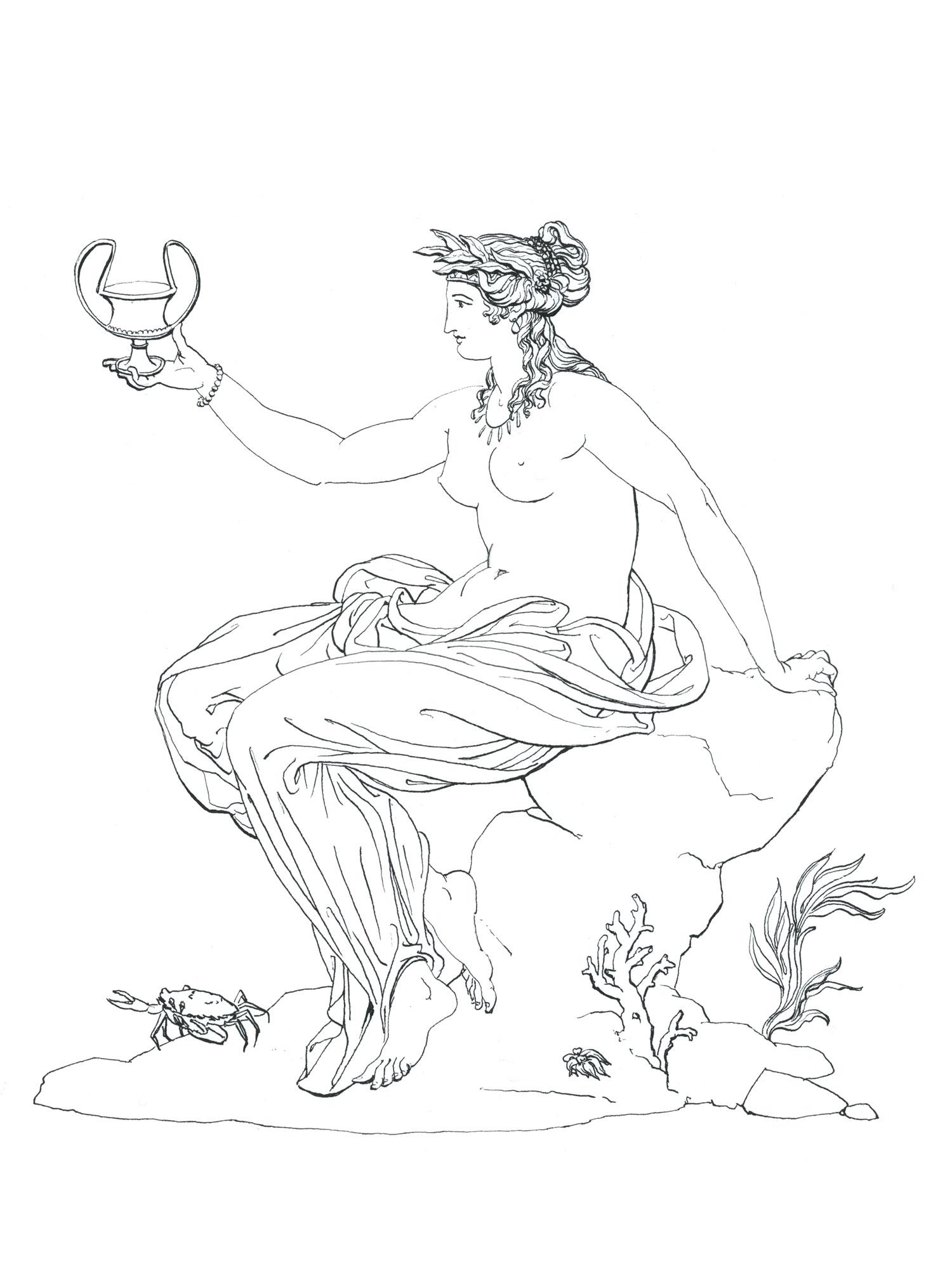 """Thetis Enthroned  2016, Ink on paper, 14 1/4"""" x 10 1/4"""" © Leonard Porter MMXVI"""
