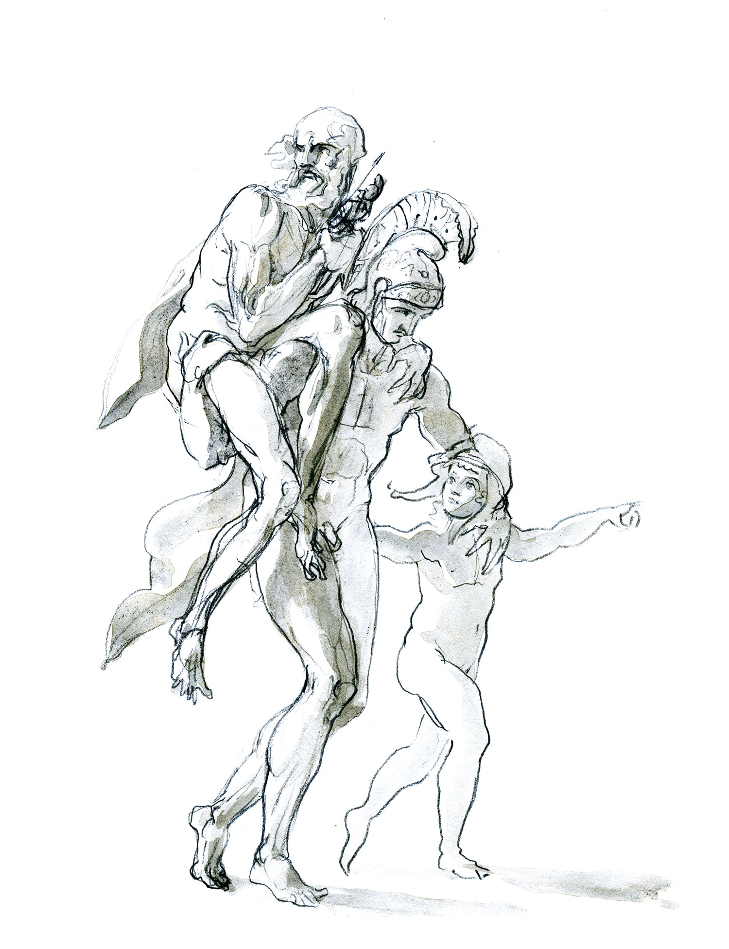 """Aeneas Carrying Anchises with Ascanius  2015, Ink on paper, 11"""" x 8 1/2"""" © Leonard Porter MMXV"""
