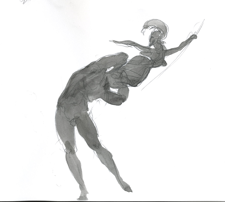 "Birth of Athena  2015, Ink on paper, 7"" x 6"" © Leonard Porter MMXV"