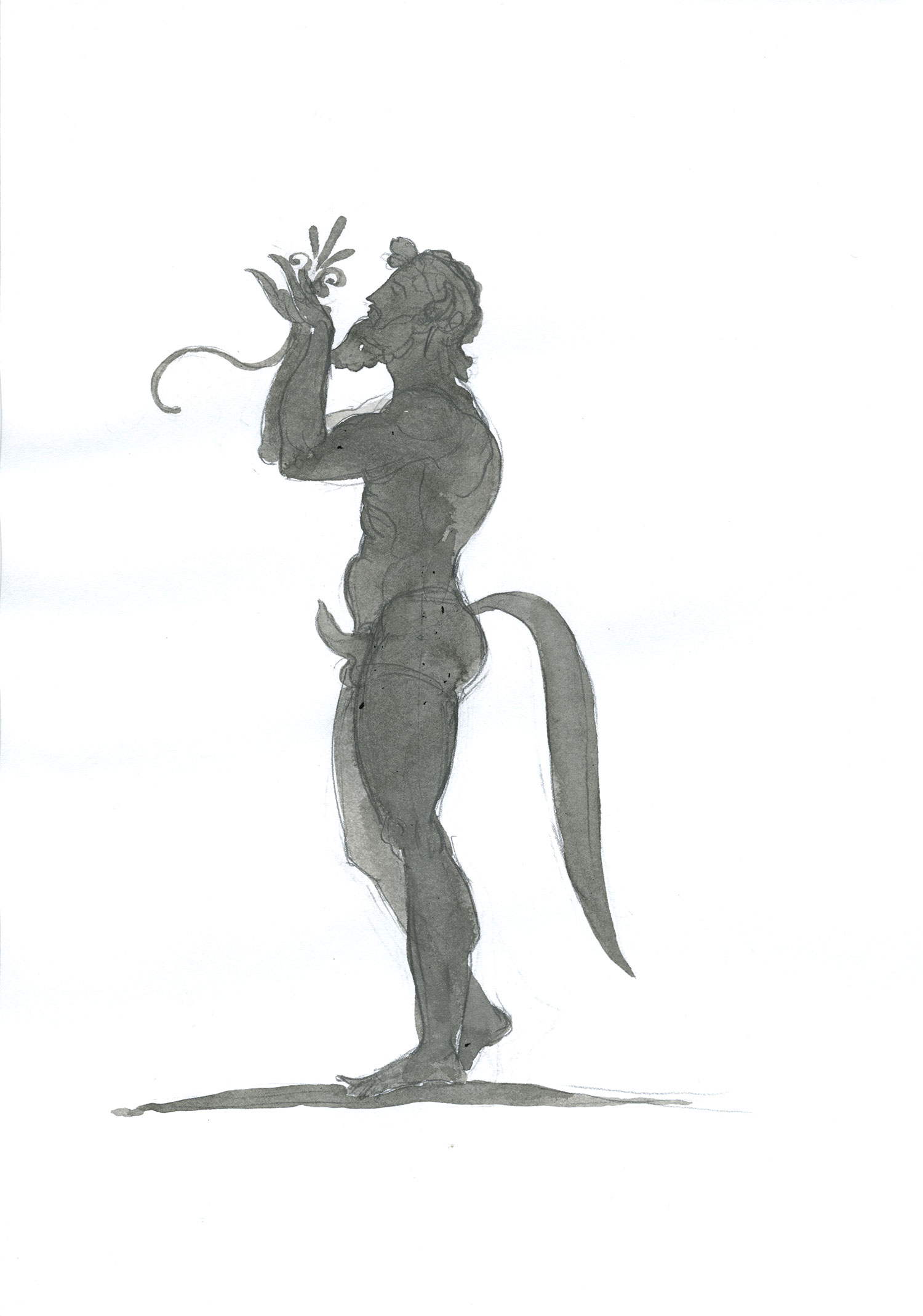 """Satyr  2015, Ink and wash on paper, 11"""" x 7 3/4"""" © Leonard Porter MMXV"""