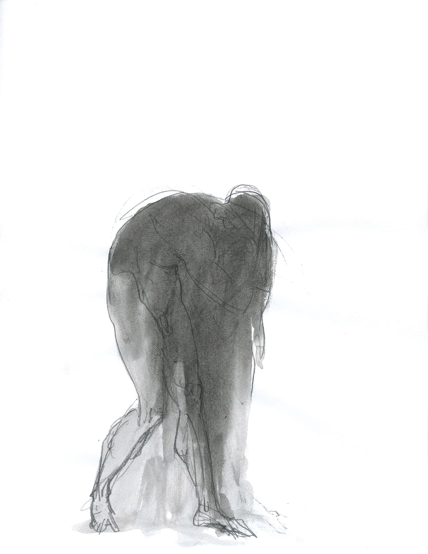 "Lament  2015, Ink on paper, 11"" x 8 1/2"" © Leonard Porter MMXV"