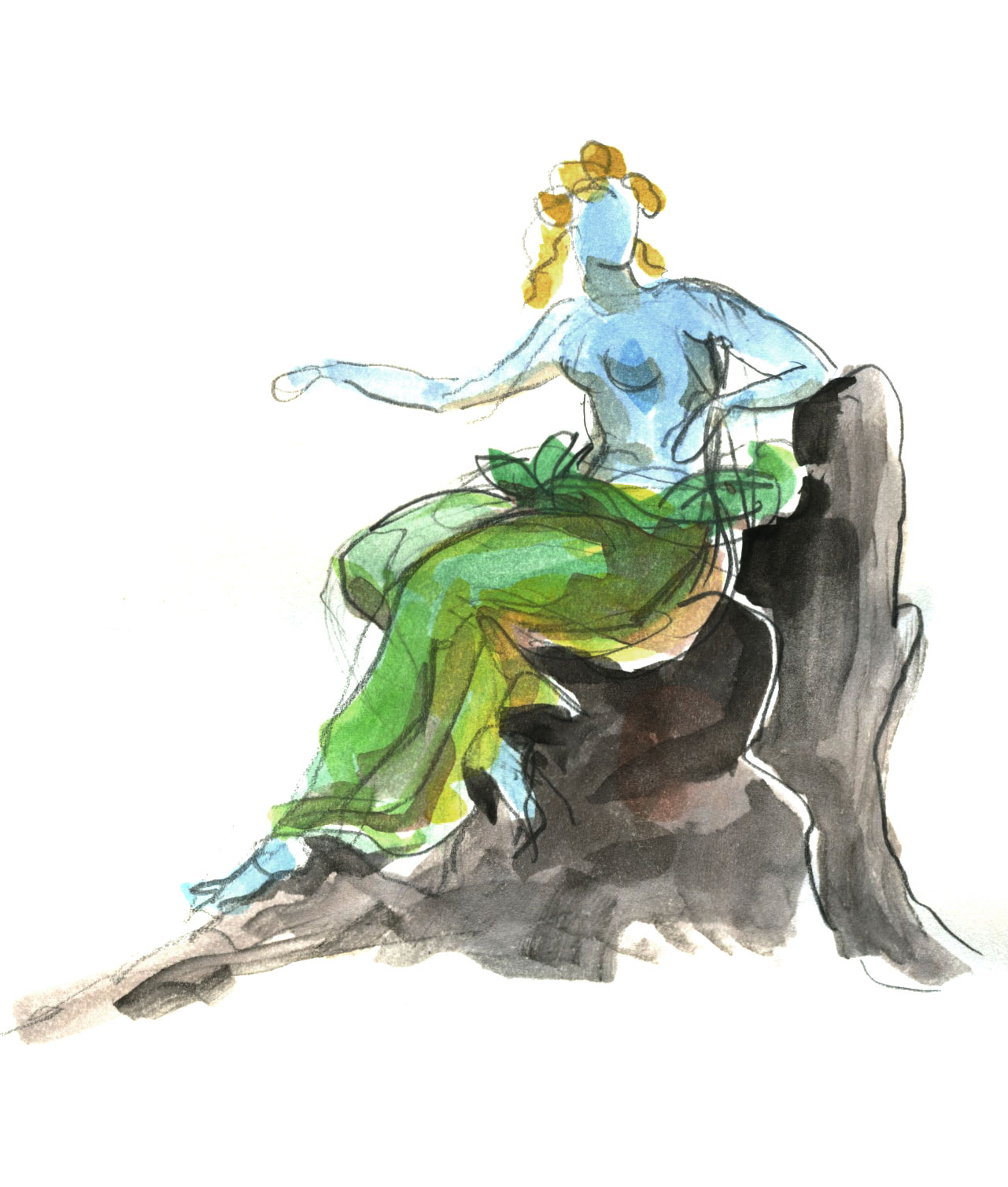 """Thetis Enthroned (sketch)  2015, Watercolor on paper, 5"""" x 4 1/2"""" © Leonard Porter MMXV"""
