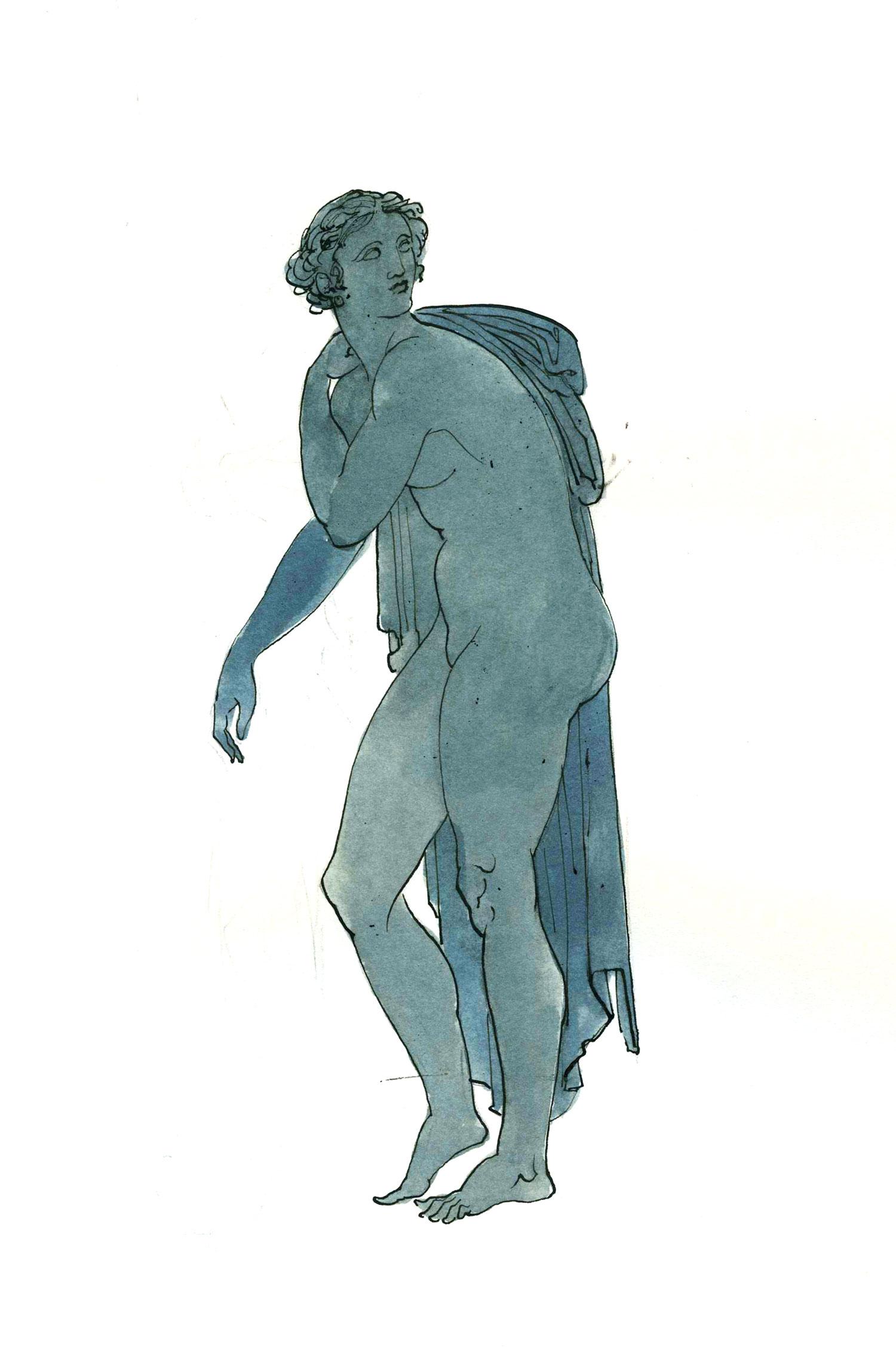 "Aphrodite  2016, Ink on paper, 12"" x 7 1/2"" © Leonard Porter MMXVI"