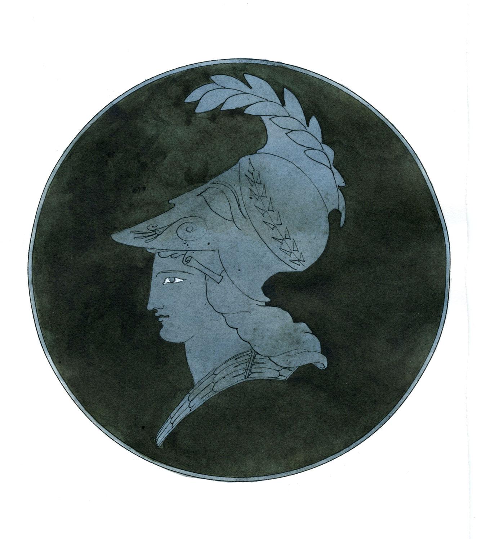 "Minerva Mazarin  2016, Ink on paper, 11 1/4"" x 7 1/2"" © Leonard Porter MMXVI"