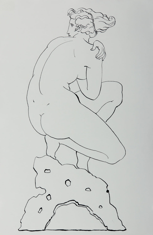 "Bather 2016, Ink on paper, 19"" x 12 3/4"" © Leonard Porter MMXVI"