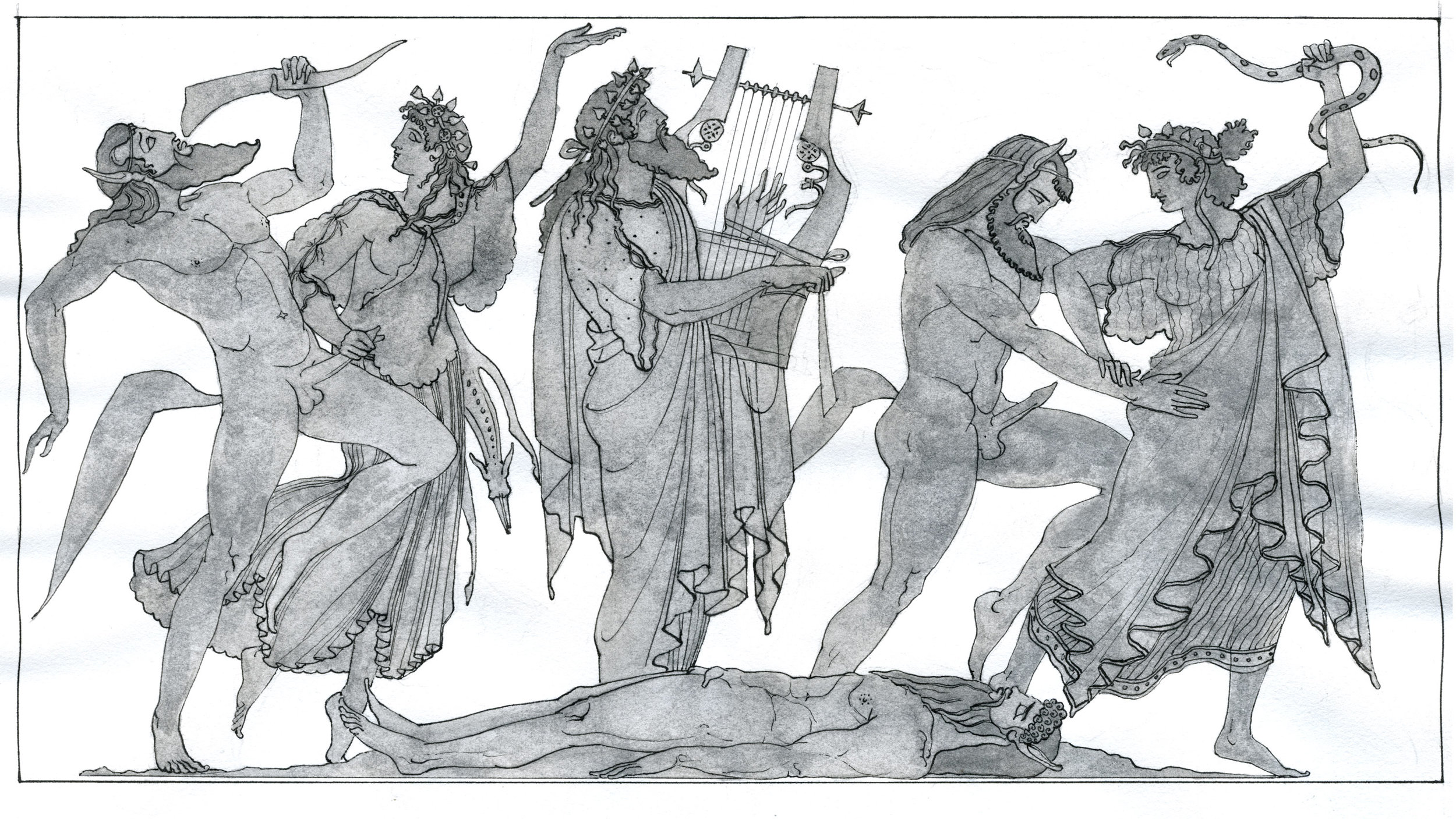 """Dionysos with Satyrs and Maenads  2017, Ink on paper, 10 1/8"""" x 14 1/8"""" © Leonard Porter MMXVII"""