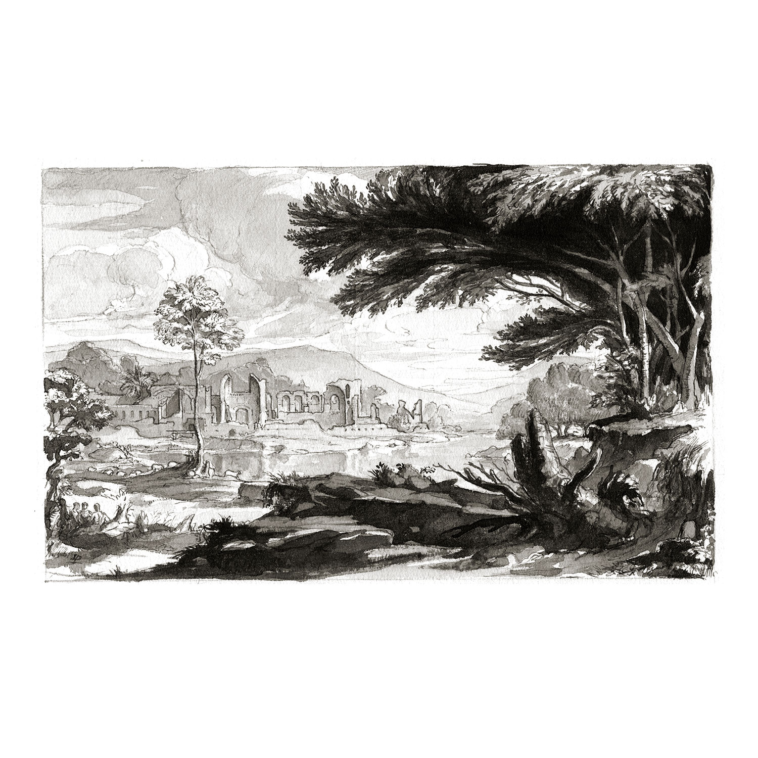 """Landscape with Ruins  2011, Ink and Watercolor on Paper, 5"""" x 8 1/8"""""""