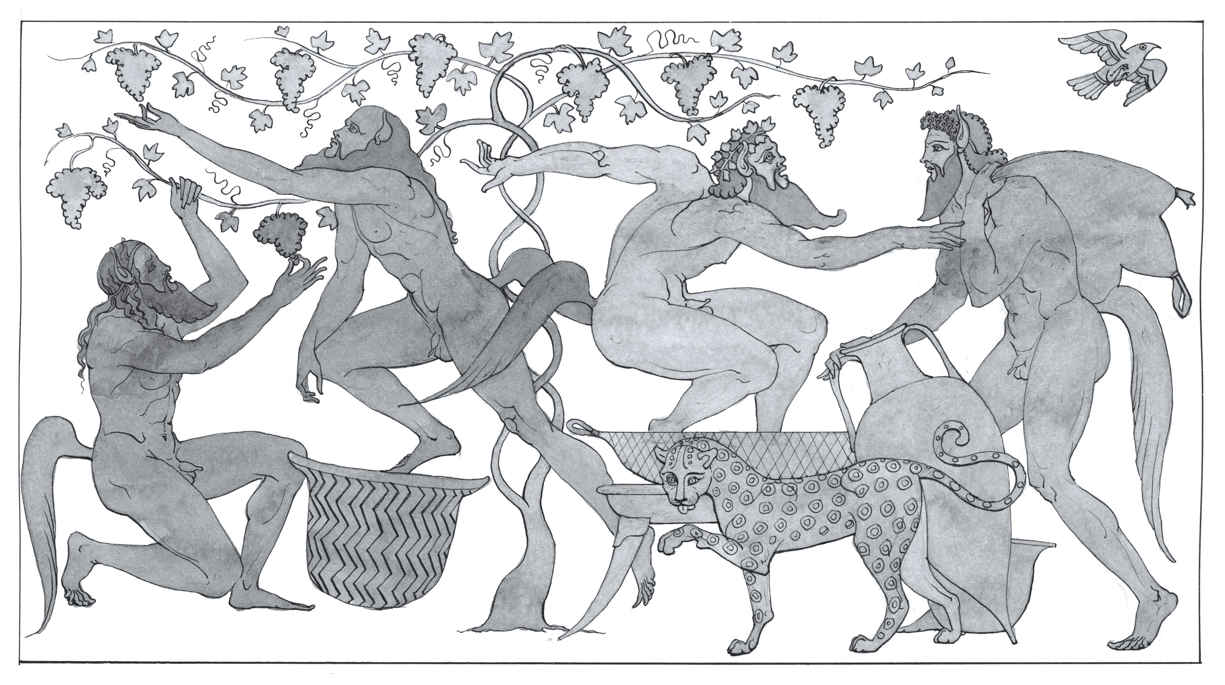 """Satyrs and Leopard  2017 Ink on Paper 10 1/8"""" x 14 1/8"""" © Leonard Porter MMXVII"""