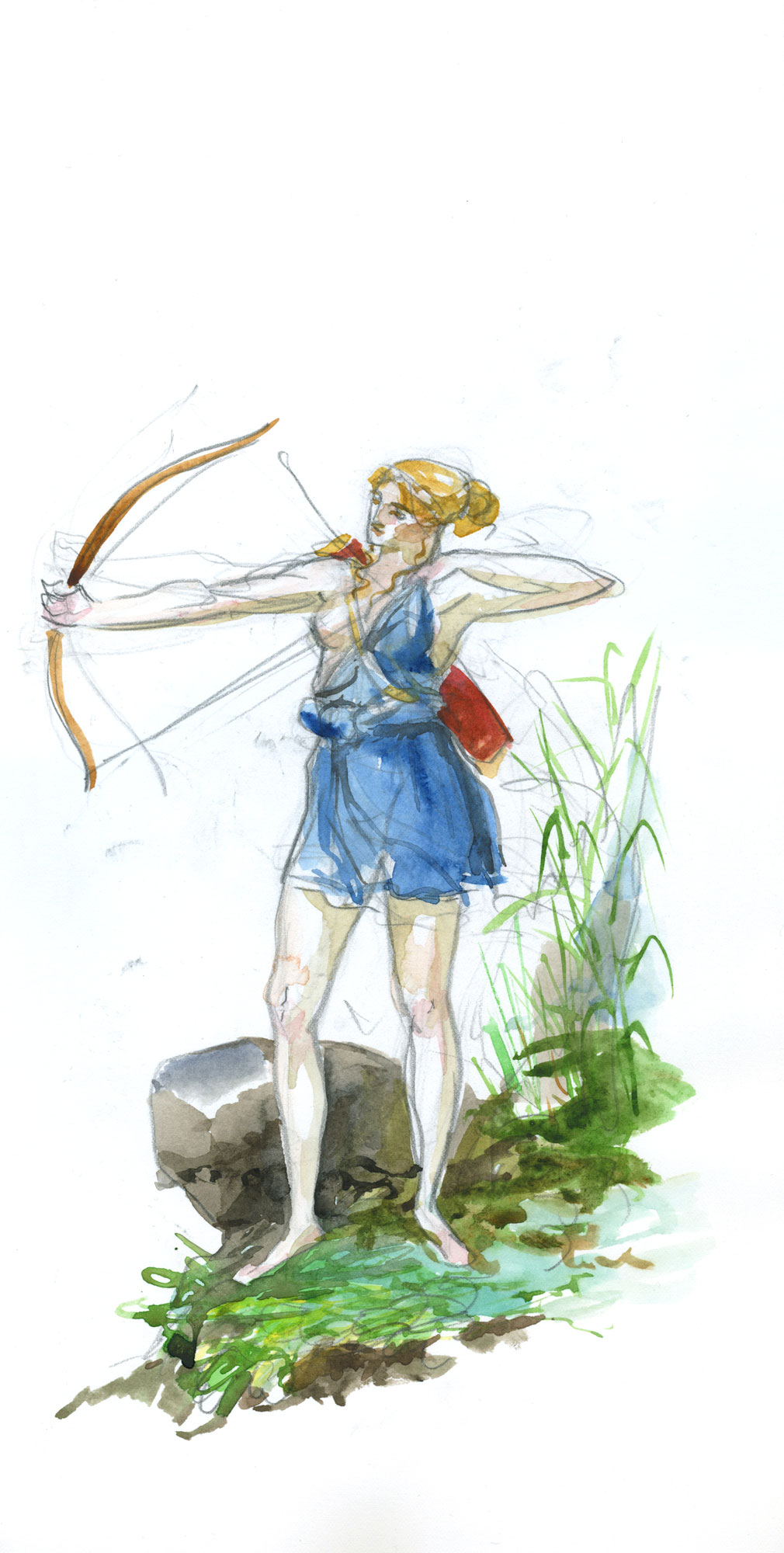 Artemis  2018, Watercolor and Pencil on Paper, 14 5/8 x 7 1/4 inches.  © Leonard Porter MMXVIII