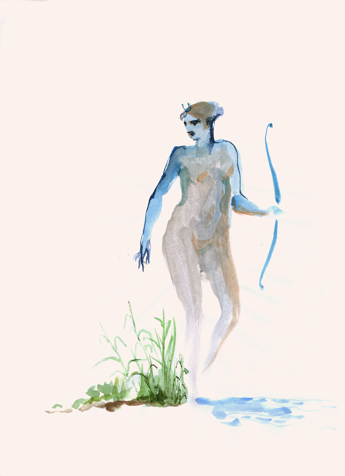 Artemis  2018, Watercolor and Pencil on Paper, 11 x 8 1/2 inches.  © Leonard Porter MMXVIII