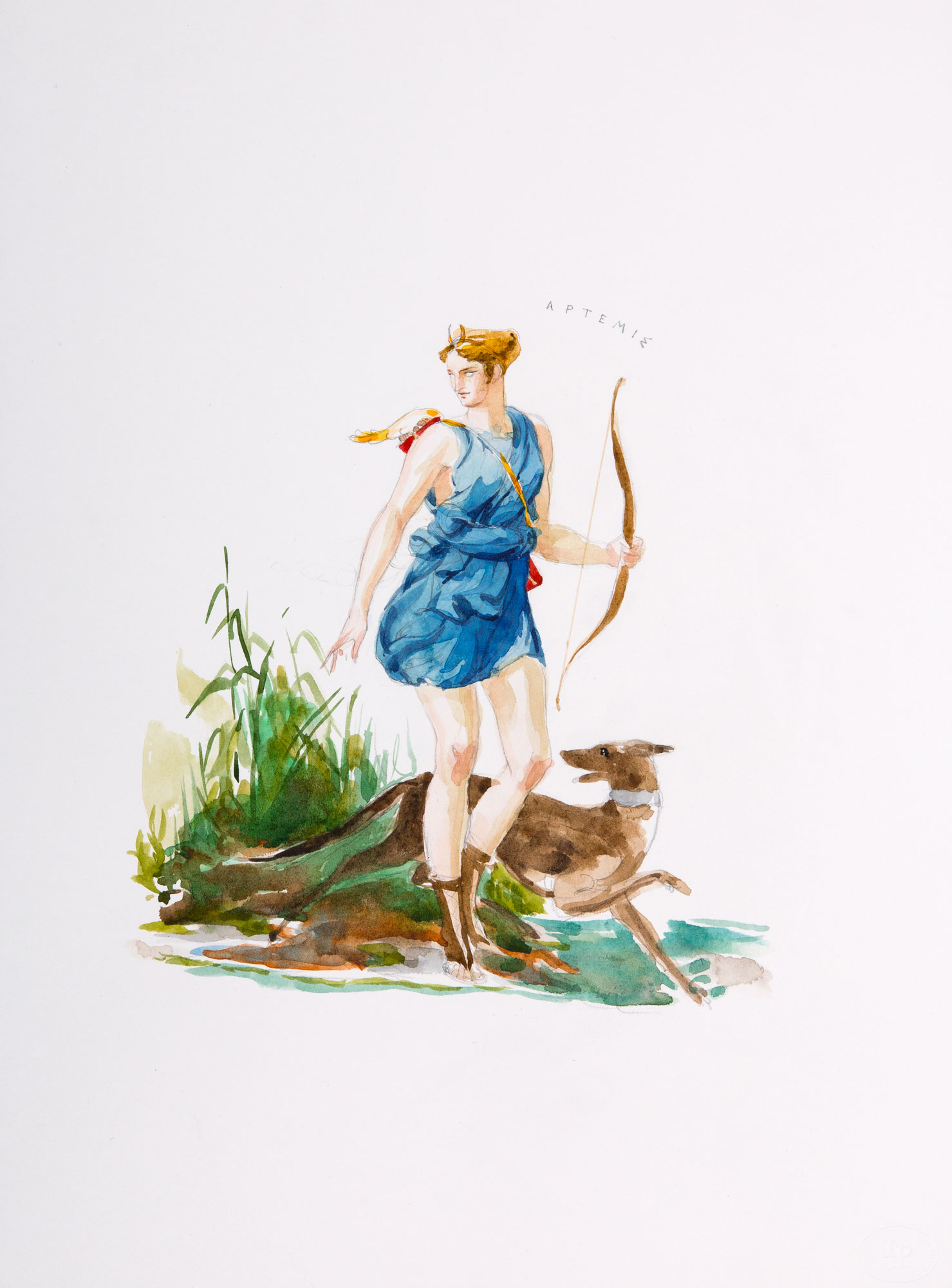 Artemis  2018, Watercolor and Pencil on Paper, 15 x 11 inches.  © Leonard Porter MMXVIII