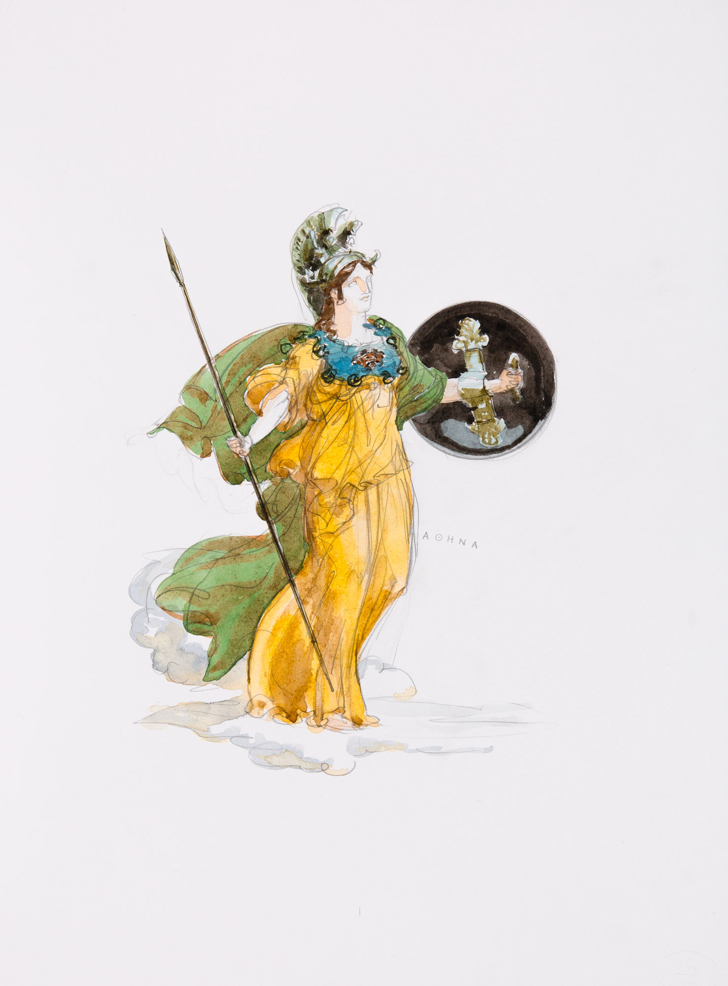 Athena  2018, Watercolor and Pencil on Paper, 15 x 11 inches.  © Leonard Porter MMXVIII