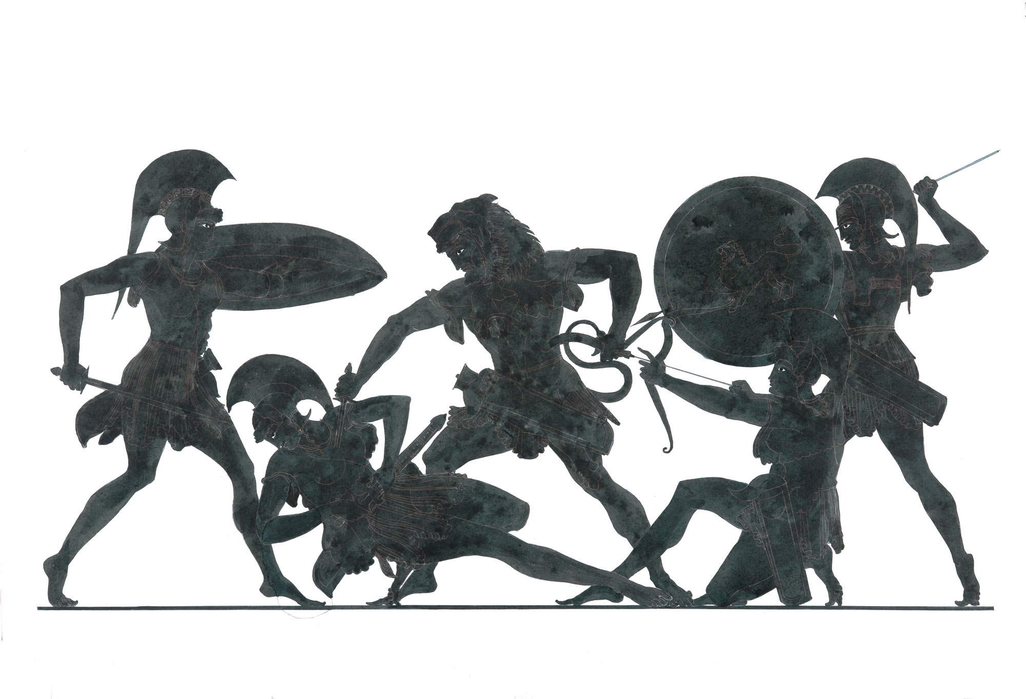 """Herakles and Amazons (after Douris)  2017, Ink on paper, 18"""" x 28"""" © Leonard Porter MMXVII"""
