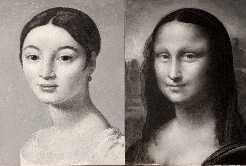 "Mademoiselle Caroline Rivière et La Joconde  2019, Oil on linen panel, 12"" x9"" each © Leonard Porter MMXIX"