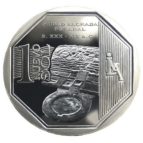 In 2014, the Central Reserve Bank of Perú minted the new 1 Sol coin with the image of Caral.