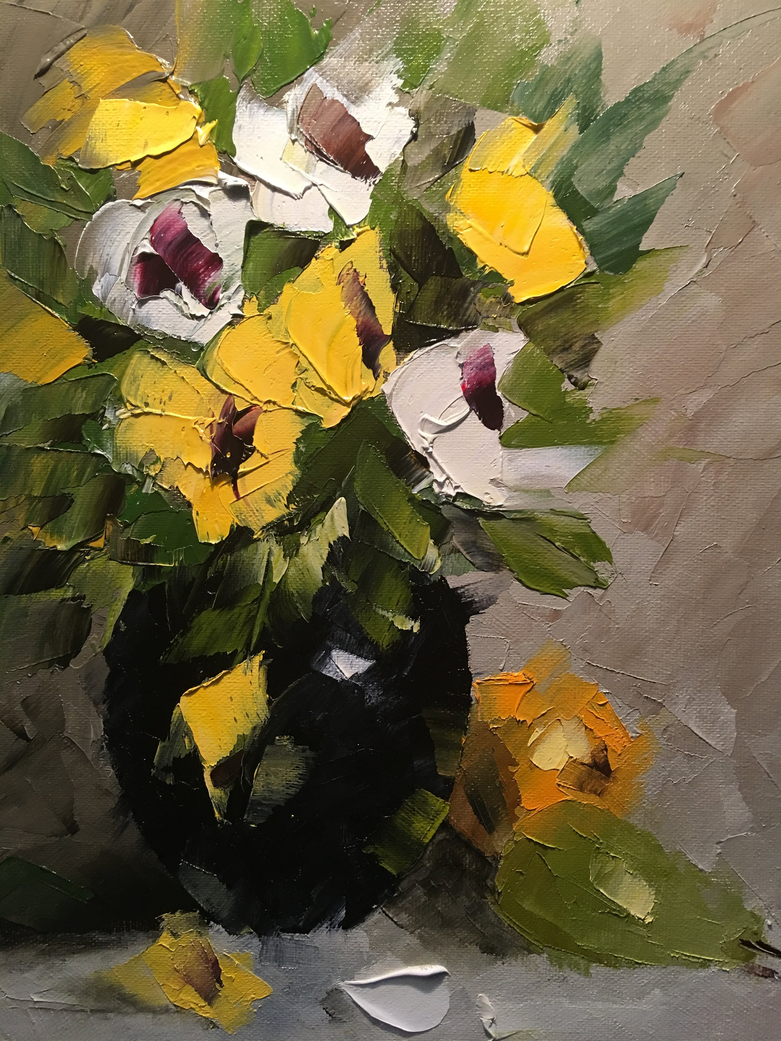 """Yellow and White Pansies"""
