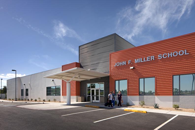 John F. Miller School Entrance Exterior