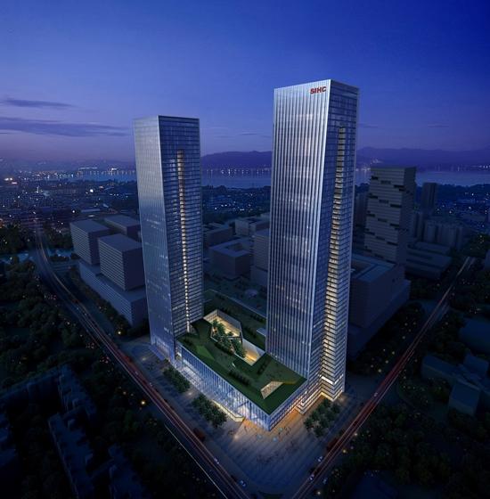 B-Tec Twin Towers Aerial Rendering
