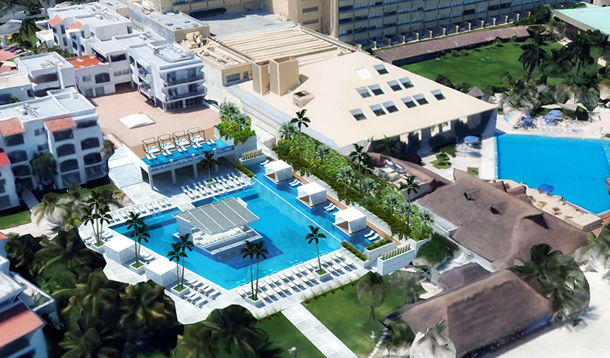 Aerial view rendering of the winning pool design