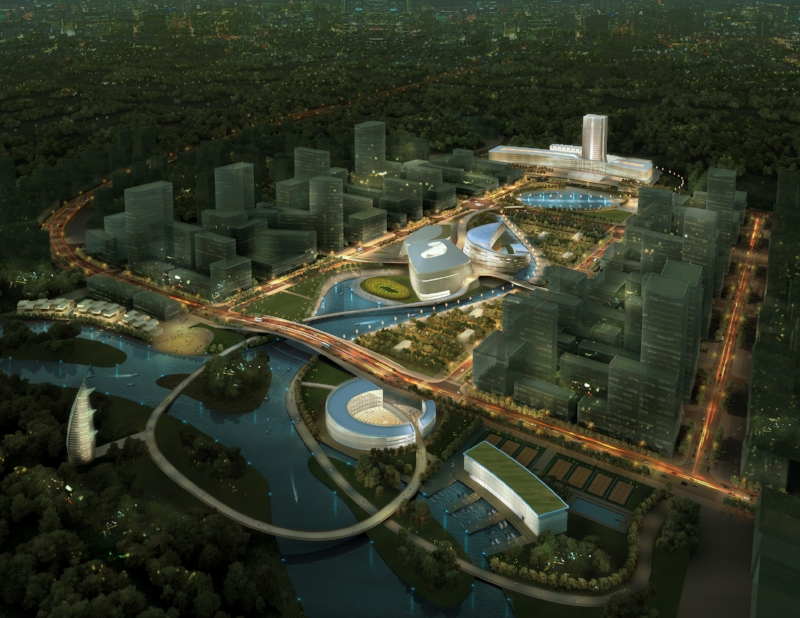Yichang New District Cultural Center Aerial Rendering