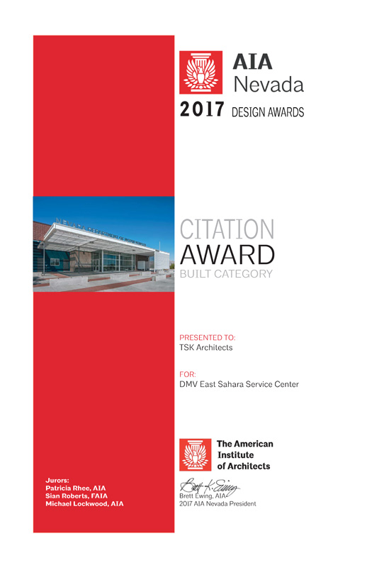 AIA Nevada Citation Award 2017 for DMV Sahara Service Center.