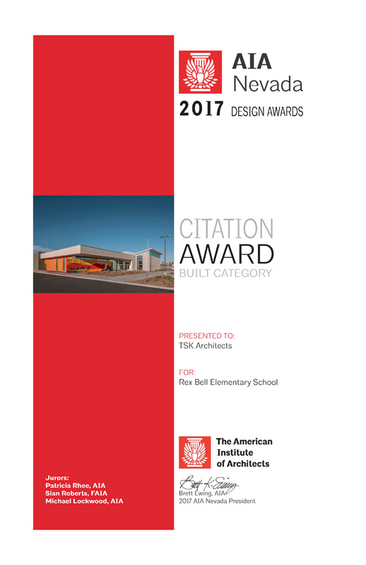 AIA Nevada Citation Award 2017 for Rex Bell Elementary School.