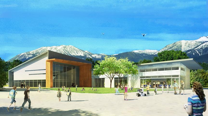 Sage Ridge School Exterior Rendering