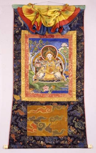 King Trisong Detson, Newark Museum (82.126), 18th century thangka with door and unusual triple cover.