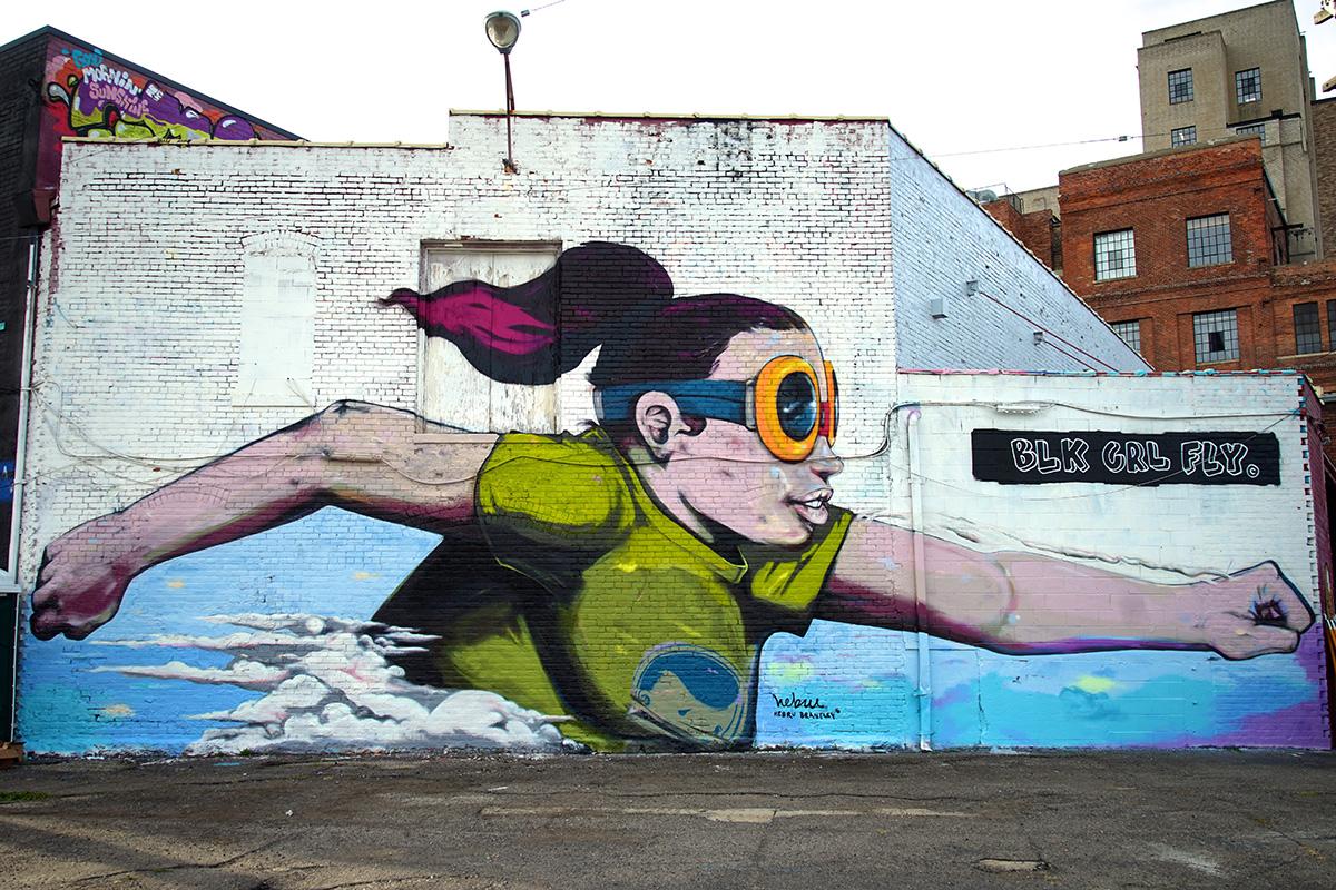2016 Mural by Hebru Brantley in Eastern Market, Detroit