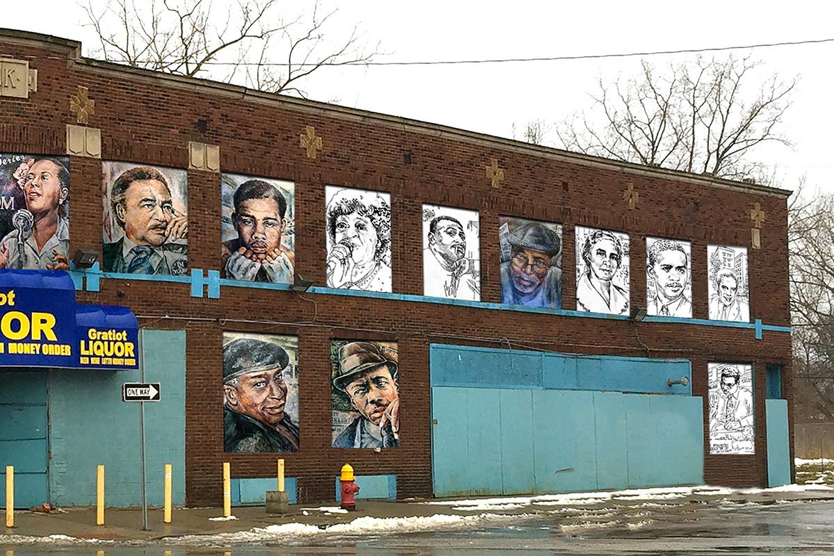 2016 Mural by Nicole MacDonald in Detroit, Michigan