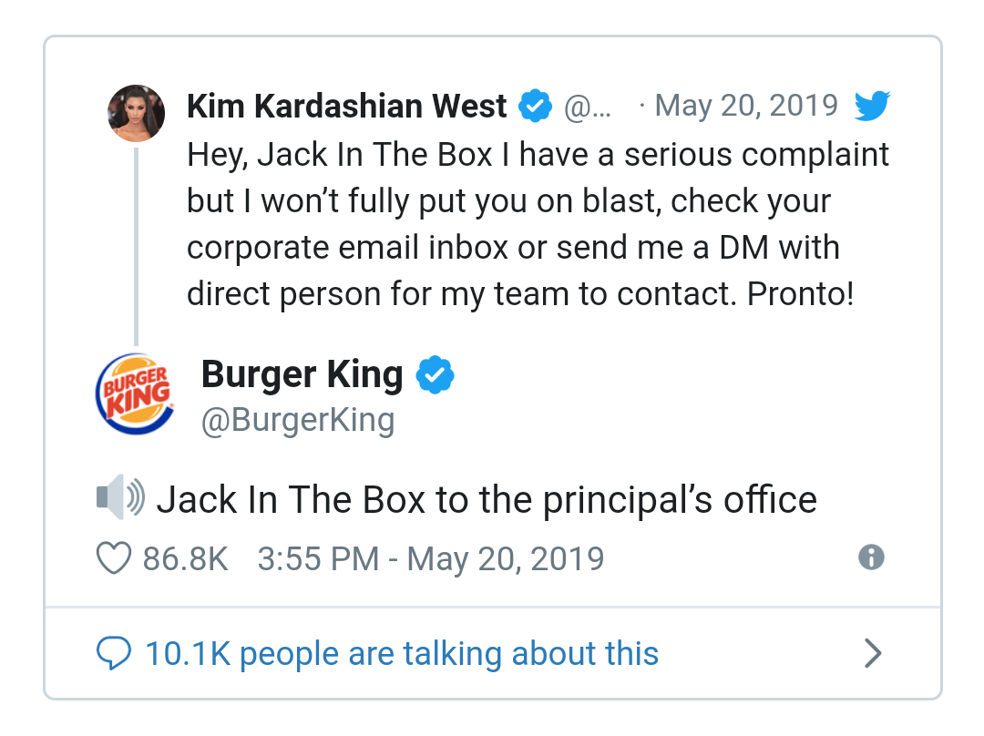 Not to be outdone, Burger King jumped in with it's own comments about Kim and her experience with Jack and the Box