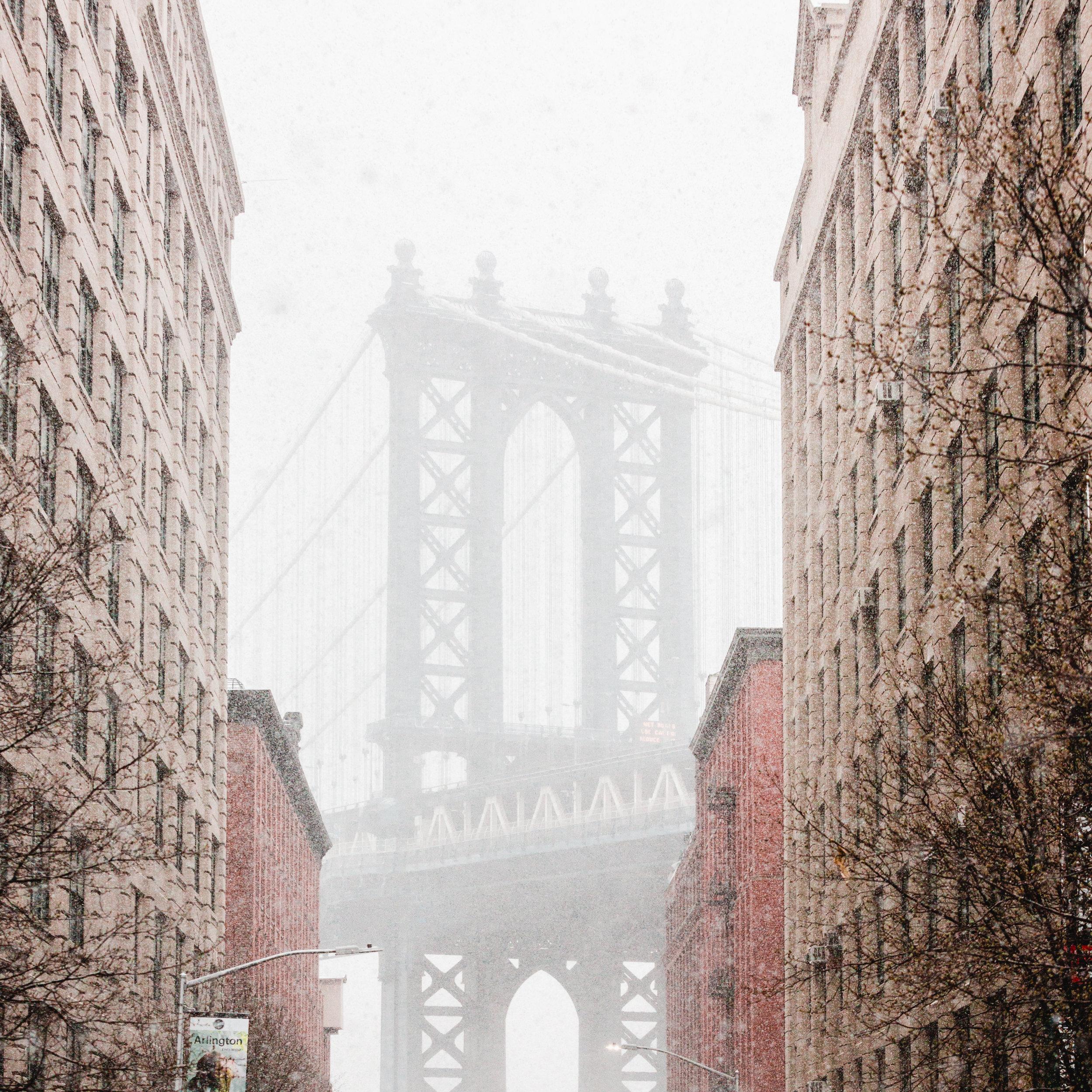 New York Brooklyn Dumbo Manhattan Bridge Jay Street Snowstorm