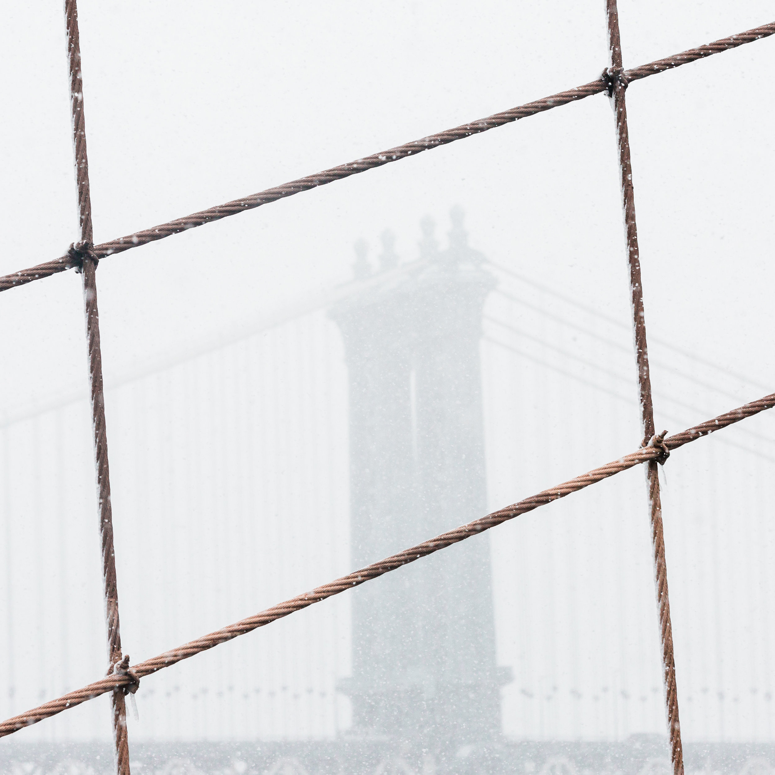 manhattan bridge new york brooklyn dumbo snowstorm silhouette