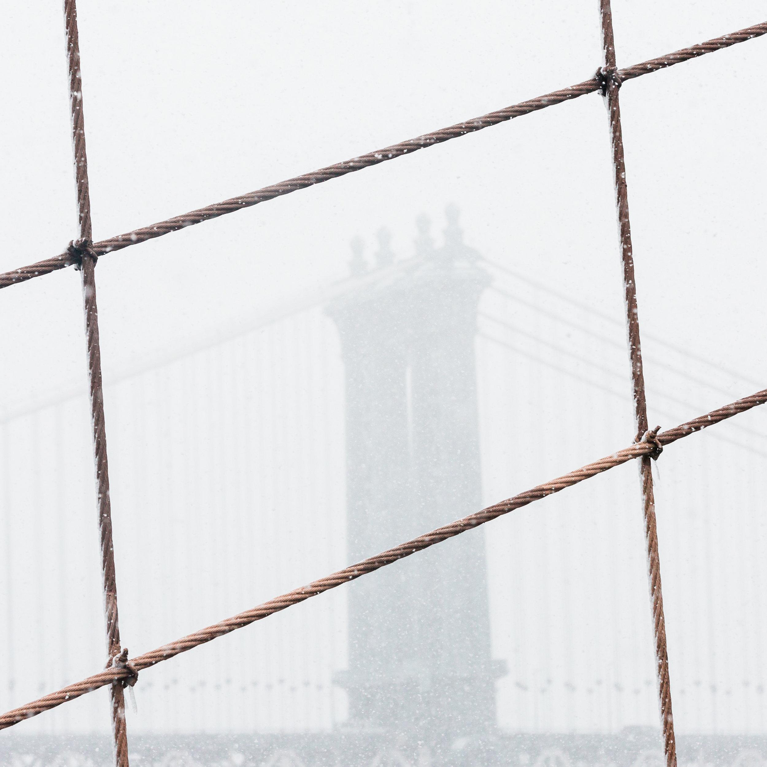 manhattan bridge new york brooklyn dumbo snowstorm silhouette